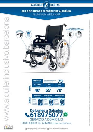 Alquiler silla ruedas aluminio para ni os y adultos - Alquiler silla de ruedas barcelona ...